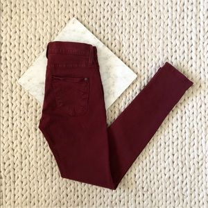 James Jeans Burgundy Red Low Rise Skinny Jeans